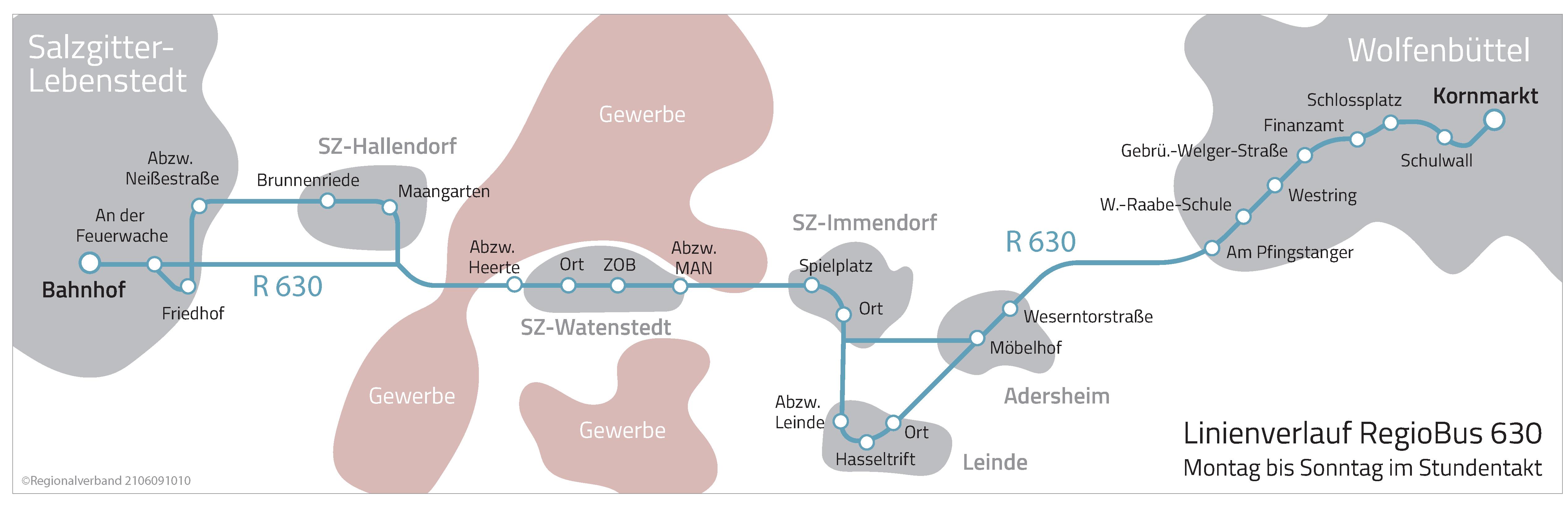 Der Linienverlauf der Regiobuslinie 630 zwischen Salzgitter Lebenstedt und Wolfenbüttel wird grafisch dargestellt. Eine Linie verbindet die Haltestellen, die von dieser Linie bedient werden.
